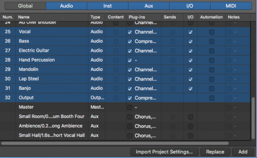 Import Project Settings